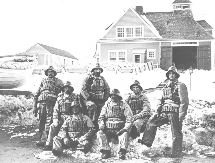 "Wallis Sands Life-Saving crew wearing ""storm suits"" with cork life vests, no date"