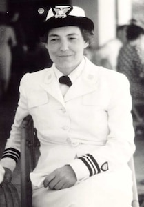 LCDR (later CAPT) Dorothy Stratton; service dress white, 1943