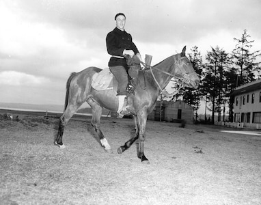 Mounted Beach Patrol: pea coat, knit cap, dungarees & leggings, all standard Navy-issue, WWII