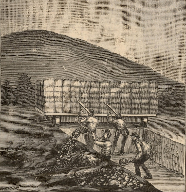 Union soldiers converted a railroad handcar into a mobile firing platform to shelter those working on Logan's Approach.