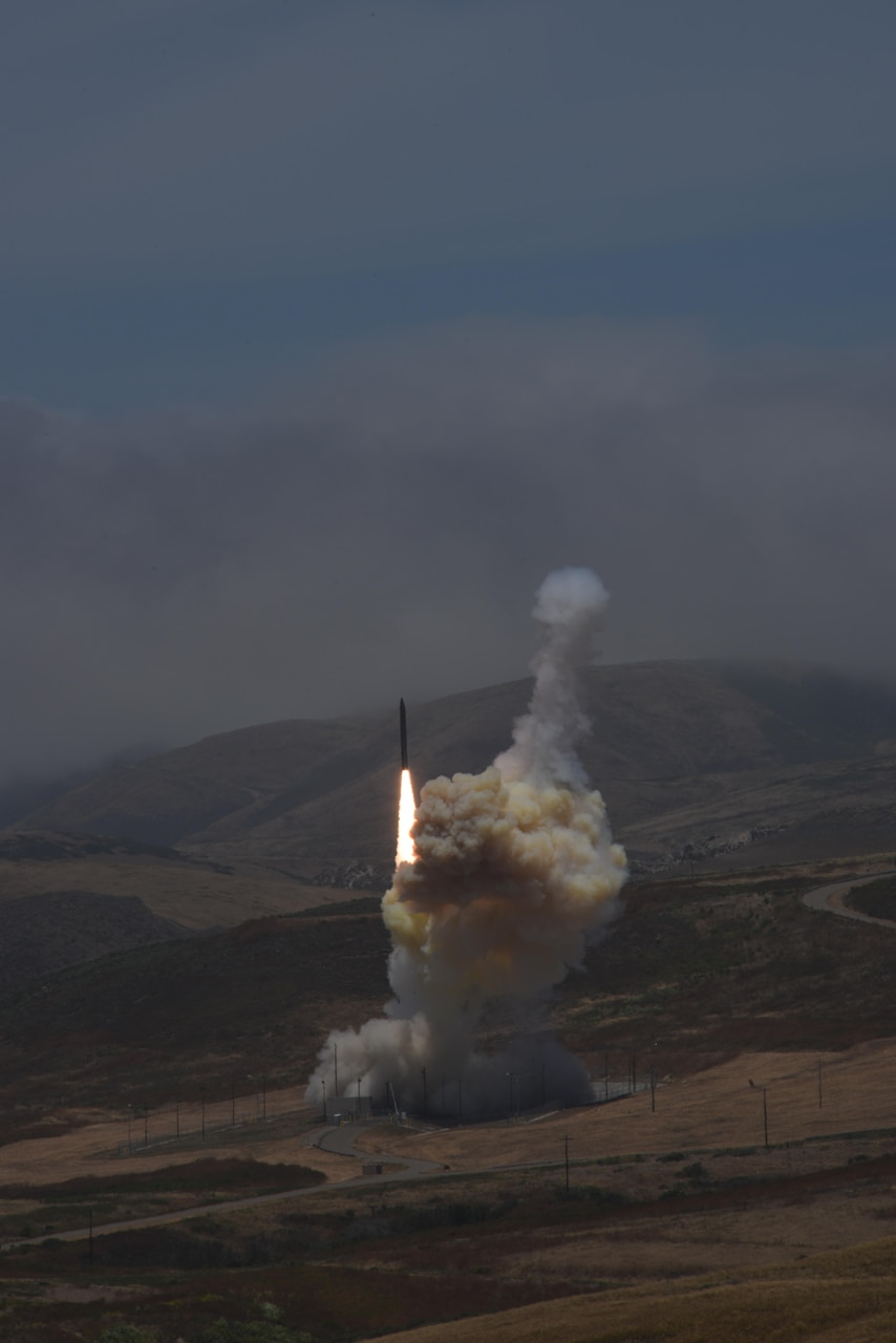A long-range ground-based interceptor is launched from Vandenberg Air Force Base, Calif., May 30, 2017. It successfully intercepted an intercontinental ballistic missile target launched from the U.S. Army's Reagan Test Site on Kwajalein Atoll. This was the first live-fire test event against an ICBM-class target. Missile Defense Agency photo