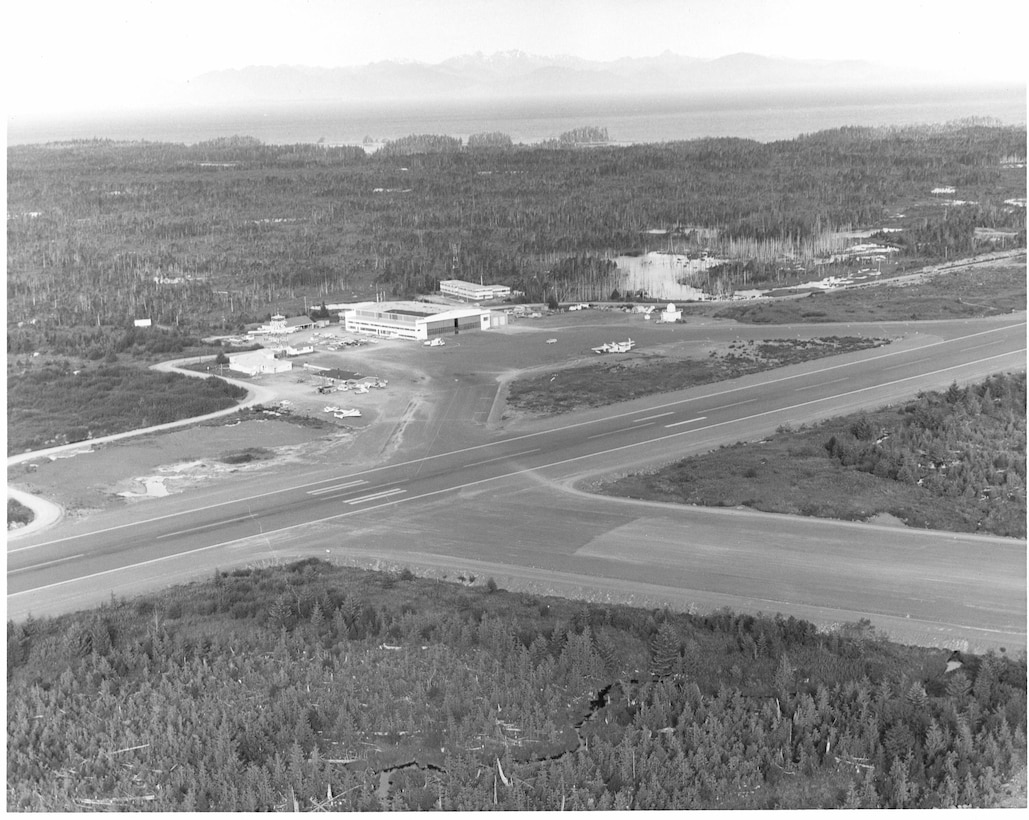 Air Station Annette, Alaska No caption/date/photo number; photographer unknown.  Aerial view of Air Station Annette.
