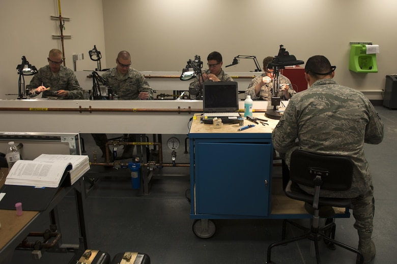 Airmen learn soldering techniques at the 372nd Training Squadron, Detachment 14 at Joint Base Elmendorf-Richardson, Alaska, June 7, 2017.  Det. 14 is part of the Air Education and Training Command's 82nd Training Wing out of Sheppard Air Force base in Wichita Falls, Texas