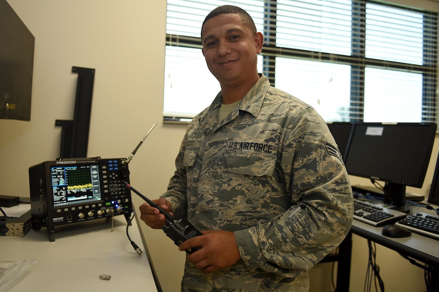 U.S. Air Force Senior Airman Romel Scott, a radio frequency technician assigned to the 169th Communications Squadron of the South Carolina Air National Guard at McEntire Joint National Guard Base, S.C., June 4, 2017. (U.S. Air National Guard photo by Senior Airman Ashleigh S. Pavelek)