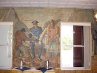 Air Station Clearwater, Florida (Formerly Air Station St. Petersburg) Wardroom mural inside the Officers' & CPO Mess.  This building was constructed in the 1937-38 time frame and the interior of the Officers' Mess was painted by a local artist, George Snow Hill, under the Works Progress Administration's Federal Art Program.  Each wall of the Mess depicted a historic event in Coast Guard history or one of the service's many missions conducted in the 1930s.  Photos & information courtesy of the Ancient Order of the Pterodactyls.