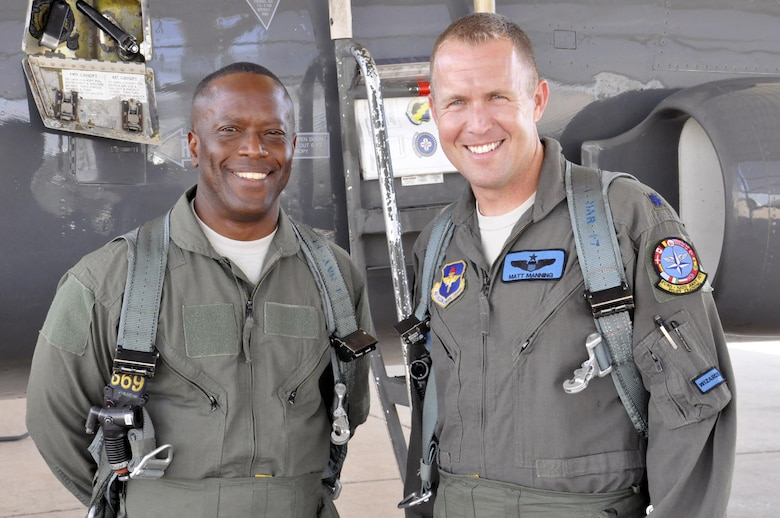 Brig. Gen. Ronald Jolly, 82nd Training Wing commander, and Lt. Col. Matthew Manning prepare to embark on a familiarization flight in a T-38 Talon at Sheppard Air Force Base, June 8, 2017. Familiarization flights improve situational awareness and strengthen the bond between both of Sheppard's training wings. (U.S. Air Force photo by Debi Smith)