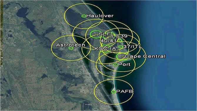 The depicted figure shows the 10 lightning warning areas issued by the 45th Weather Squadron. Phase 1 Lightning Watches and Phase 2 Lightning Warnings directly apply to the small (inner) green circles. The large (outer) yellow circles include a prudent safety buffer. (Screen capture image may not be to scale)