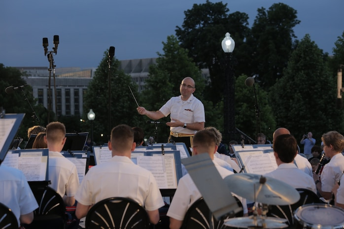 """On June 7, 2017, the Marine Band performed a summer concert at the U.S. Capitol Building in Washington, D.C. The program included Sousa's march, """"Manhattan Beach,"""" Sparke's Pantomime, King's march, """"The Melody Shop,"""" and a medley of Johnny Mercer songs. (U.S. Marine Corps photo by Master Sgt. Kristin duBois/released)"""