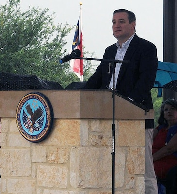 """Sen. Ted Cruz, R-Texas, speaks during the Memorial Day ceremony at Fort Sam Houston National Cemetery May 29. """"The men and women buried here have not simply known freedom; they have embodied it,"""" Cruz said. """"More than 30,000 Texans have lost their lives in defense of our nation. May we never forget the lives of each service member. It is their blood that has kept us free. And it is their sacrifice that calls each of us to cherish the gift of liberty. I am here to humbly say simply, thank you to the men and women of our nation's military who made the ultimate sacrifice for our freedom."""""""