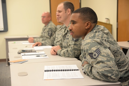 U.S. Air Force Staff Sgt. Mitchell Gorham participates in the first (beta) Career Assistance Advisor training course for the newly redesigned First Term Airmen Course held in November 2016. The new course revamped FTAC from an in-processing focused program to a standard curriculum focused on developing Airmen. Gorham is the First Term Airmen Course team lead at Joint Base San Antonio-Lackland, Texas, which beta-tested the new FTAC curriculum. (U.S. Air Force photo by Melissa Peterson)