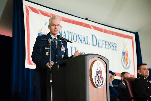 Air Force Gen. Paul J. Selva, the vice chairman of the Joint Chiefs of Staff, addresses the 672 graduates at the National Defense University, Fort Lesley J. McNair, Washington, D.C., June 8, 2017. He described the outgoing students as critical thinkers and challenged them to be relentless in their assessment of the world as it is and how they can work to shape the world and defend freedom and liberty. DoD photo.