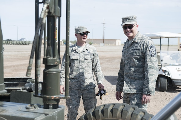 Chief Master Sgt. Jason France, Air Force Materiel Command command chief, visits Holloman Air Force Base, N.M., June 6, 2017. France traveled to various sections around Basic Expeditionary Airfield Resources Base to receive an overview of how it supports the entire Air Force enterprise, discuss challenges it faces, and discover ways to advocate for the 635th tenant unit. (U.S. Air Force photo/Airman 1st Class Ilyana A. Escalona)