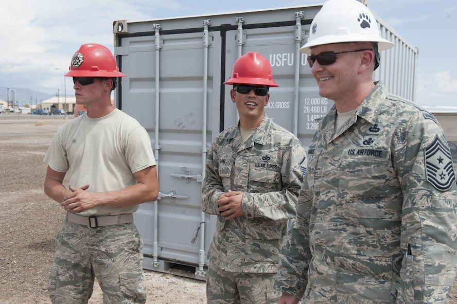 Chief Master Sgt. Jason France, Air Force Materiel Command command chief, visits Holloman Air Force Base, N.M., June 6, 2017. France traveled to various sections around Basic Expeditionary Airfield Resources Base to receive an overview of how they support the entire Air Force enterprise, discuss challenges they face, and discover ways to advocate for the 635th tenant unit. (U.S. Air Force photo by Airman 1st Class Ilyana A. Escalona)