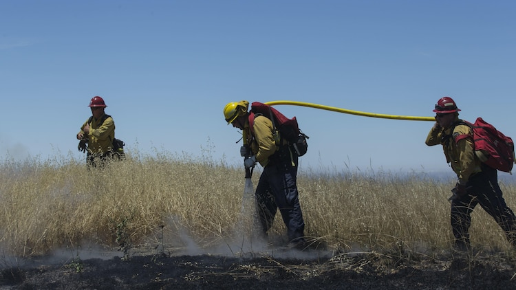 Over 200 firefighters with the U.S. Forest Service, Orange County Fire Authority, Cal Fire, and local San Diego County agencies gathered on Camp Pendleton, Calif. to participate in wildfire firefighting methods training, June 5, 2017. This training is conducted to further enhance their abilities to effectively and efficiently combat wildfires. Significant wildland fires throughout San Diego County in October of 2007 lead officials to seek a partnership between military and civilian aviation and firefighting assets to better manage crisis aboard regional military installations and in the surrounding communities. Since then, Camp Pendleton security and safety agencies, and local departments have been working together to streamline response and integrated communication efforts to provide ready, trained and certified military and civilian resources to combat wildland fires in the region, culminating with a cooperative effort to extinguish wildland fires.  (U.S. Marine Corps photo by Lance Cpl. Michael LaFontaine)