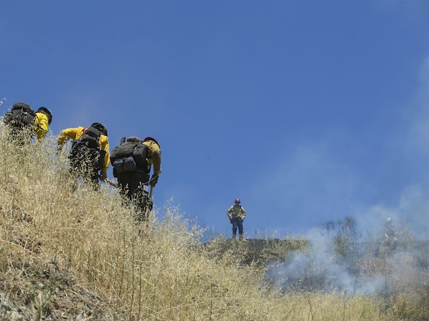 Over 200 firefighters from the U.S. Forest Service, Orange County Fire Authority, Cal Fire, and local San Diego County agencies gathered on Camp Pendleton, Calif. to participate in wildfire firefighting methods training, June 5, 2017. This training is conducted to further enhance their abilities to effectively and efficiently combat wildfires. Significant wildland fires throughout San Diego County in October of 2007 lead officials to seek a partnership between military and civilian aviation and firefighting assets to better manage crisis aboard regional military installations and in the surrounding communities. Since then, Camp Pendleton security and safety agencies, and local departments have been working together to streamline response and integrated communication efforts to provide ready, trained and certified military and civilian resources to combat wildland fires in the region, culminating with a cooperative effort to extinguish wildland fires.(U.S. Marine Corps photo by Lance Cpl. Michael LaFontaine)