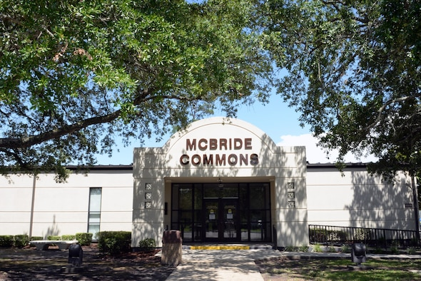 McBride Commons is a community center which offers something for everyone. It is located in Bldg. 2222 on the corner of Larcher Blvd. and Meadows Dr. It offers an engraving shop, frame shop, embroidery shop, arts and crafts, ink printing, a conference room, meeting area, a gaming room, library and free Wi-Fi. (U.S. Air Force photo by 2nd Lt. Teddy Barbosa)