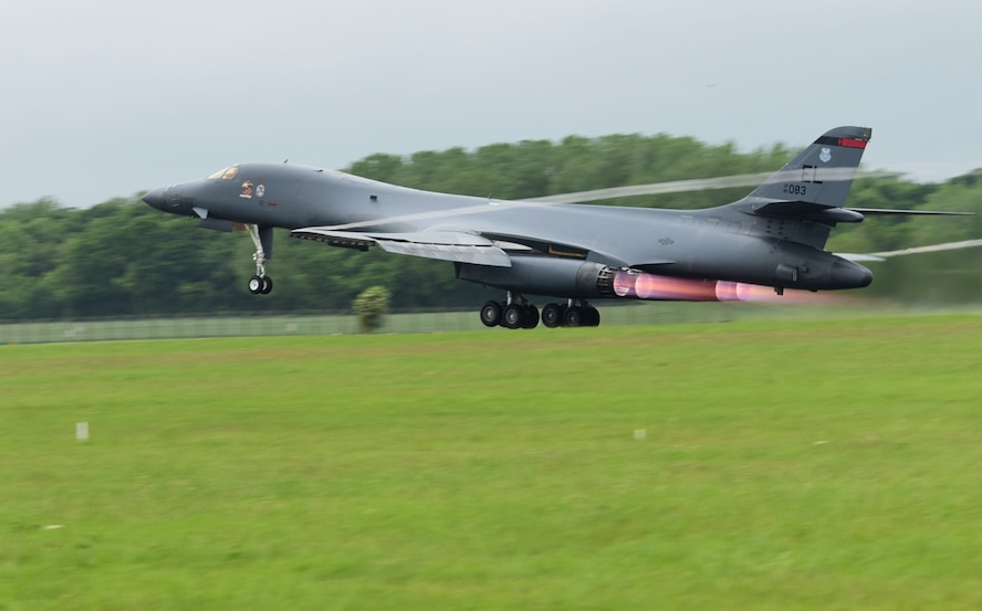 A B-1B Lancer assigned to Ellsworth Air Force Base, S.D., departs the runway at Royal Air Force Fairford, U.K., June 8, 2017. The bomber is forward deployed in support of exercises BALTOPS and Saber Strike to conduct bomber and assurance missions. (U.S. Air Force photo by Tech. Sgt. Miguel Lara III)