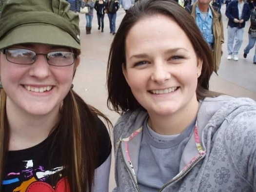 U.S. Air Force Airman 1st Class Kelly Coats, a 35th Operations Support Squadron airfield manager, takes a selfie with her sister, Kristy, several years ago in Glendale, Arizona. Coats joined the Air Force because she wanted to be just like her sister. Kristy is eight years older than Coats and has four children but always claims Coats as one of her own. Whenever she needs someone to talk to, Kristy is Coats' first resource and lends to her overall resiliency as a warfighter and member of Team Misawa. (Courtesy photo by Kelly Coats)