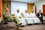 Army Col. Erik Larson, defense attaché at the U.S. embassy in Oman, joins officials from the Oman Ministry of Defense and the Port of Duqm to answer questions at a May 14-15 workshop for Omani company representatives.