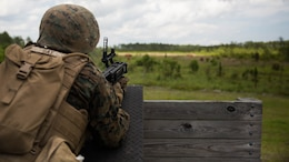 A Marine aims an M320 grenade launcher module at a target at Camp Lejeune, N.C., June 6, 2017. 2nd Combat Engineer Battalion is one of the first Marine Corps units to test the M320, a more effective weapon system than the current M203 grenade launcher.
