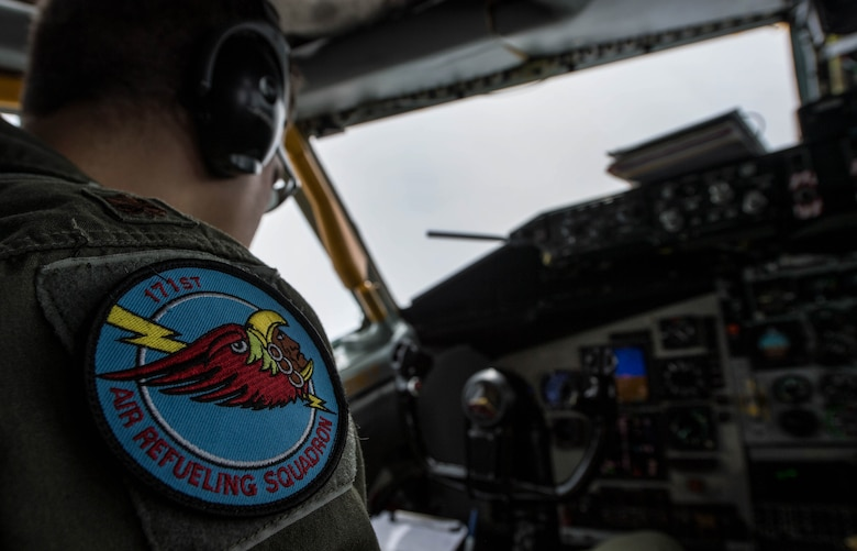 U.S. Air National Guard Maj. Russ Miller, 171st Air Refueling Squadron pilot, looks over a checklist during a refueling mission during exercise Saber Strike 17 above Riga, Latvia, June 8, 2017. During the flight, the 171st ARS Airmen refueled a U.S. Air Force Global Strike Command B-1B Lancer. Saber Strike 17 promotes regional stability and security, while strengthening partner capabilities and fostering trust. (U.S. Air Force photo by Senior Airman Tryphena Mayhugh)