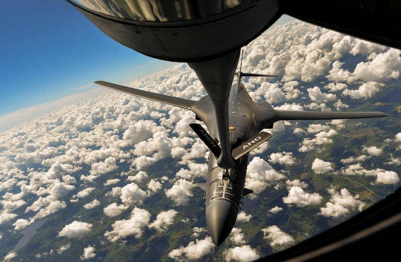 A U.S. Air Force Global Strike Command B-1B Lancer refuels from a U.S. Air National Guard KC-135 Stratotanker during exercise Saber Strike 17 above Riga, Latvia, June 8, 2017. U.S. Air National Guard Senior Airman Jordan Kaminski, 171st Air Refueling Squadron boom operator, off-loaded almost 50,000 pounds of fuel at 6,000 pounds per minute. Saber Strike 17 promotes regional stability and security, while strengthening partner capabilities and fostering trust. (U.S. Air Force photo by Senior Airman Tryphena Mayhugh)