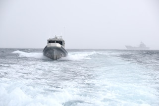 A 33-foot boat from the Antigua and Barbuda Coast Guard participates in training during Tradewinds 2017 near Bridgetown, Barbados, June 8, 2017.  Tradewinds 2017 is a joint, combined exercise conducted in conjunction with partner nations to enhance the collective abilities of defense forces and constabularies to counter transnational organized crime, and to conduct humanitarian/disaster relief operations. (U.S. Coast Guard by Petty Officer 1st Class Melissa Leake/Released)