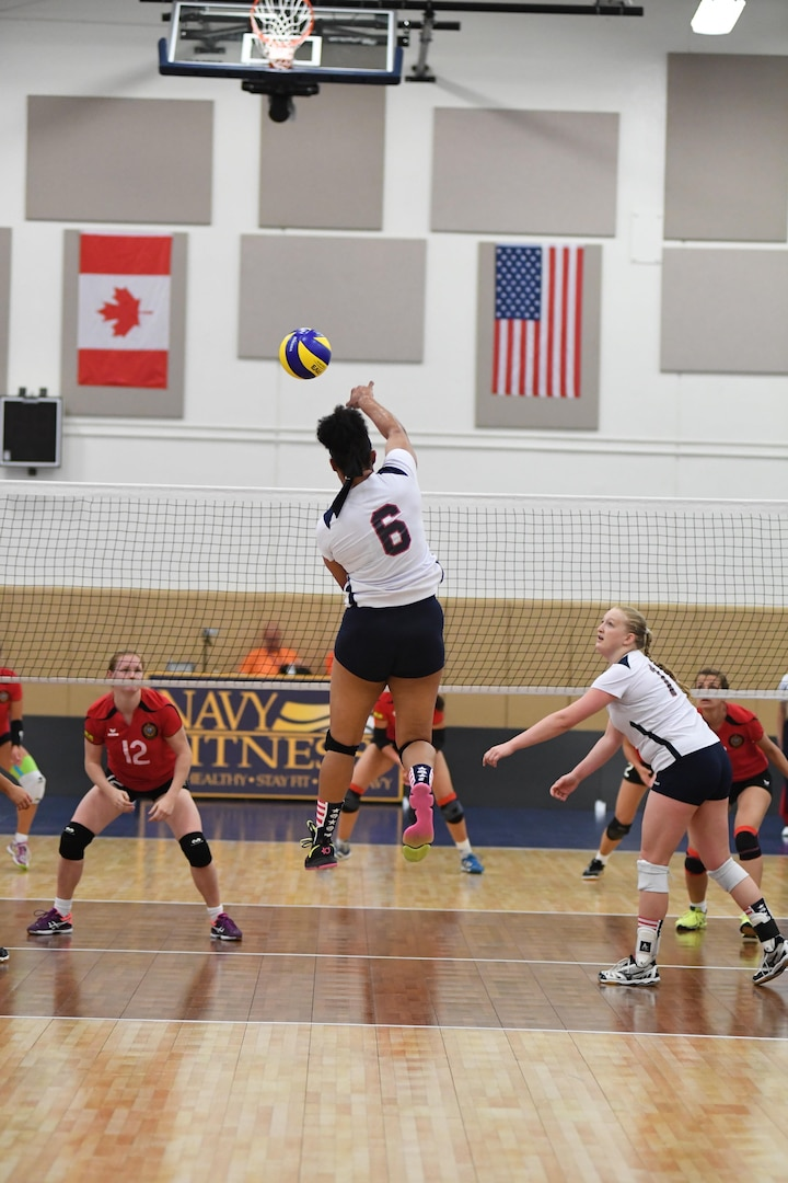 Army Sgt. Latoya Marshall of Wilmington, N.C. scores as USA defeats Germany in Match 6 of the 18th Conseil International du Sport Militaire (CISM) World Women's Military Volleyball Championship on 6 June 2017 at Naval Station Mayport, Florida. (Photo by Petty Officer 2nd Class Timothy Schumaker, NPASE East).