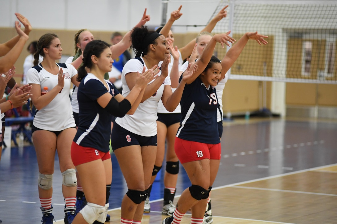 USA defeats Germany in Match 6 of the 18th Conseil International du Sport Militaire (CISM) World Women's Military Volleyball Championship on 6 June 2017 at Naval Station Mayport, Florida. (Photo by Petty Officer 2nd Class Timothy Schumaker, NPASE East).