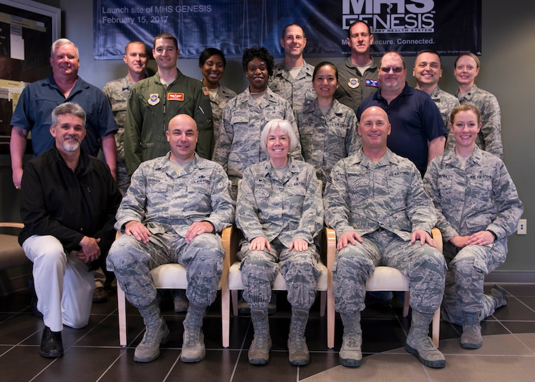 Col. Meg Carey (center), 92nd Medical Group commander, poses for a group photo with the MDG command staff and unit leaders May 17, 2017, at Fairchild Air Force Base, Washington. Col. Carey commands a group, supported by 3 squadrons, delivering patient-centered healthcare services in support of over 38,000 beneficiaries.  (U.S. Air Force Photo / Airman 1st Class Ryan Lackey)
