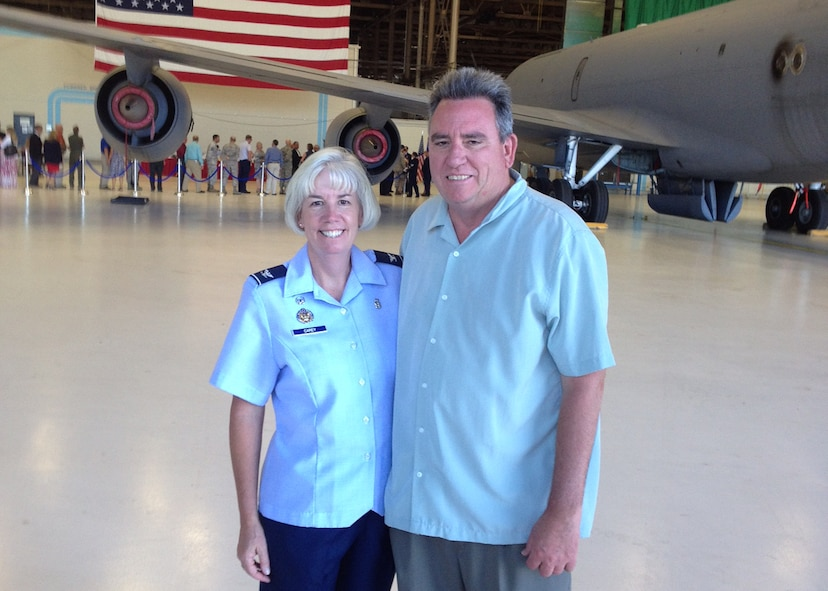 Col. Meg Carey, 92nd Medical Group commander, and her husband Curt Carey pose for a photo May 17, 2014, at Fairchild Air Force Base, Washington. Col. Carey has served the in the Air Force since 1991, joining team Fairchild in 2014. (U.S. Air Force / Courtesy Photo)