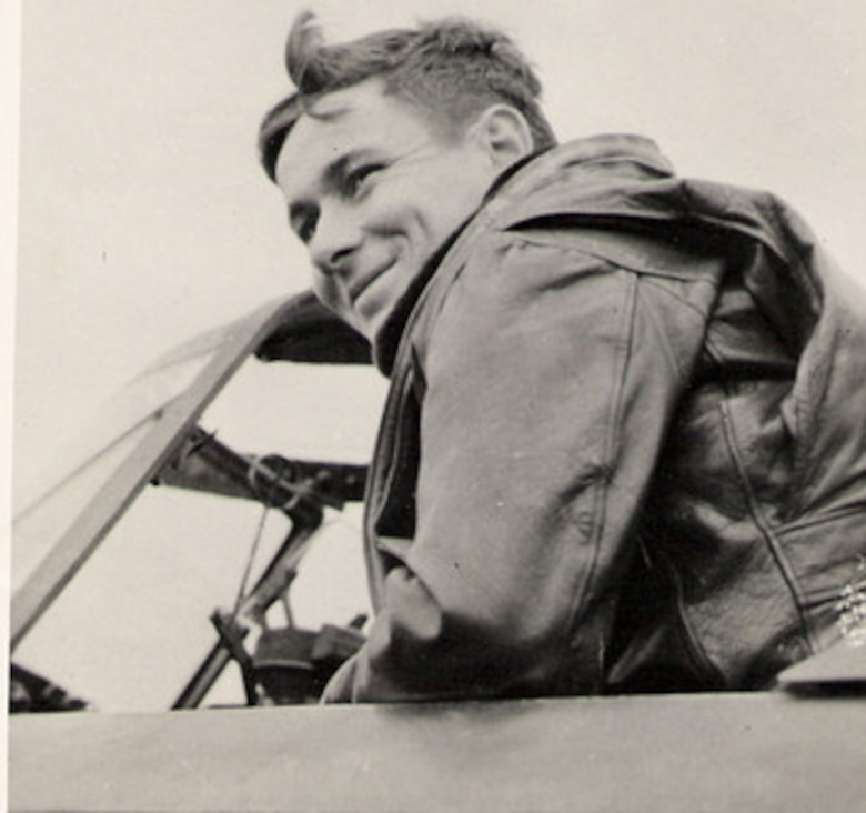 Lt Col John W. Leonard, Commanding Officer of the 405th Fighter Squadron, pictured here in 1944, was a well-regarded P-47 Thunderbolt pilot and combat leader in the 371st Fighter Group. Unfortunately, he was fatally wounded in a dogfight with German fighter planes near Worms, Germany, in January, 1945. His older brother William was a distinguished Navy fighter pilot and ace in the Pacific who participated in the Battle of Midway in June, 1942. Source: (Courtesy Mr. Jürg Herzig, Stand Where They Fought website, used with permission)