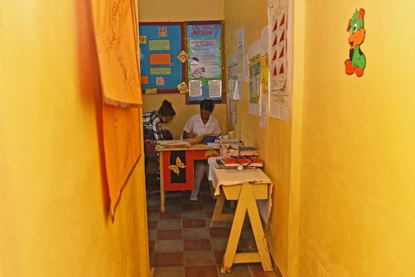 Rina Castillo, a local nurse, receives patients to apply vaccines at the Regional Health Center in the Tepanguare village located in La Paz, Honduras, May 24, 2017. Nurse Castillo has been volunteering at the understaffed clinic where a team from Joint Task Force-Bravo's Medical Element provides support every four weeks as part of their community health projects.