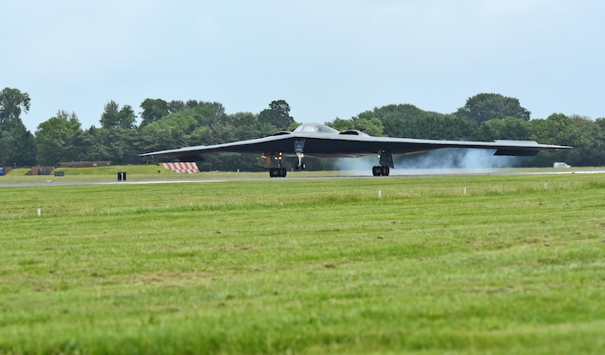 A B-2 Spirit deployed from Whiteman Air Force Base, Mo., lands on the flightline at RAF Fairford, U.K., June 9, 2017. The B-2 regularly conducts strategic bomber missions that demonstrate the credibility of the bomber forces to address a global security environment. (U.S. Air Force photo by Tech. Sgt. Miguel Lara III)