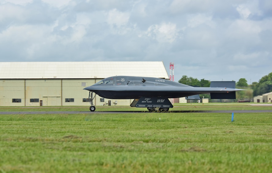 A B-2 Spirit deployed from Whiteman Air Force Base, Mo., taxis the runway at RAF Fairford, U.K., June 9, 2017. The bomber assurance and deterrence missions conducted by the B-2s are representative of the U.S. commitment to their allies and enhancing regional security. (U.S. Air Force photo by Tech. Sgt. Miguel Lara III)
