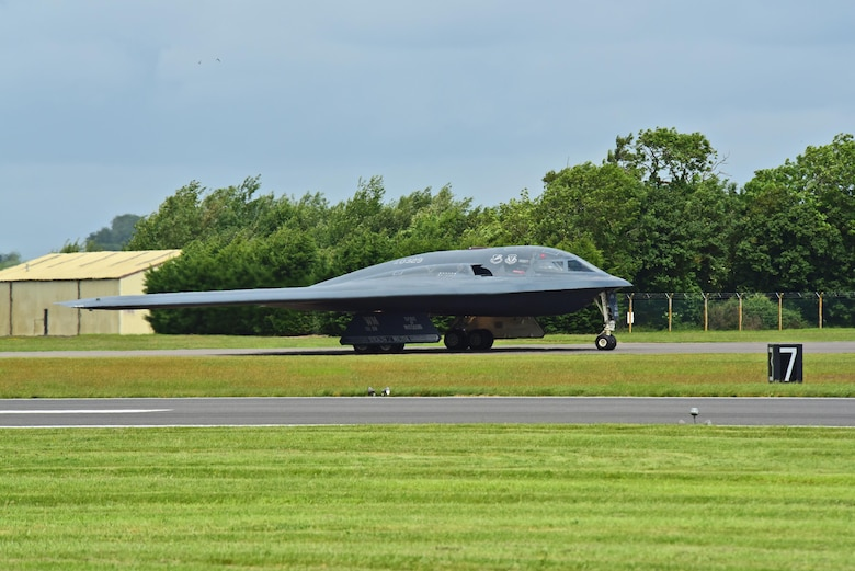 A B-2 Spirt deployed from Whiteman Air Force Base, Mo., approaches the runway at RAF Fairford, U.K., June 9, 2017. The B-2 routinely conducts bomber assurance and deterrence missions providing a flexible and vigilant long-range global strike capability, and is just one demonstration of the U.S. commitment to supporting global security. (U.S. Air Force photo by Tech. Sgt. Miguel Lara III)