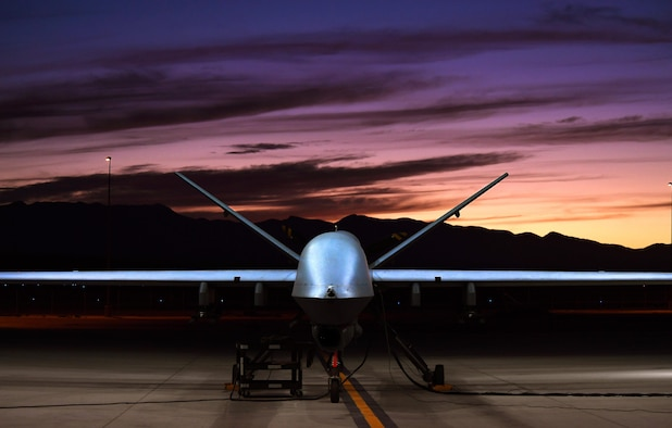 An MQ-9 Reaper sits on the flight line Nov. 16, 2016, at Creech Air Force Base, Nev. The MQ-9 provides persistent attack and reconnaissance capabilities for combatant commanders and coalition forces involved in 24/7/365 combat operations abroad. (U.S. Air Force photo/Airman 1st Class James Thompson)