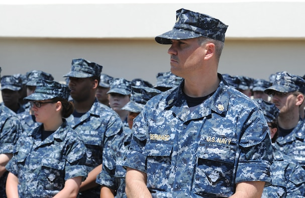 Chief Petty Officer David Bernhard, Center for Naval Aviation Technical Training Unit Keesler instructor, stands in formation during the Battle of Midway Commemoration Ceremony hosted by CNATTU Keesler June 7, 2017, on Keesler Air Force Base, Miss. The ceremony commemorated the 75th anniversary of the Battle of Midway, which was a U.S. naval victory during World War II. (U.S. Air force photo by Kemberly Groue)