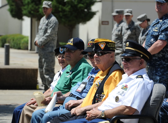 Veterans from the Armed Forces Retirement Home in Gulfport, Miss., attend the Battle of Midway Commemoration Ceremony hosted by the Center for Naval Aviation Technical Training Unit Keesler June 7, 2017, on Keesler Air Force Base, Miss. The ceremony commemorated the 75th anniversary of the Battle of Midway, which was a U.S. naval victory during World War II. Keesler Airmen, Marines and Sailors also attended the event. (U.S. Air force photo by Kemberly Groue)
