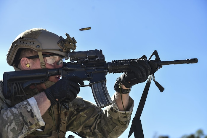 A U.S. Air Force Special Tactics officer with the 24th Special Operations Wing fires an M4 Assault Rifle during Marine Special Operations School's Individual Training Course, April 11, 2017, at Camp Lejeune, N.C. For the first time, U.S. Air Force Special Tactics Airmen spent three months in Marine Special Operations Command's initial Marine Raider training pipeline, representing efforts to build joint mindsets across special operations forces.  (U.S. Air Force photo by Senior Airman Ryan Conroy)