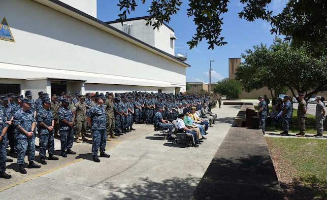 Keesler Airmen, Sailors and Marines, and veterans from the Armed Forces Retirement Home in Gulfport, Miss., attend the Battle of Midway Commemoration Ceremony hosted by the Center for Naval Aviation Technical Training Unit Keesler June 7, 2017, on Keesler Air Force Base, Miss. The ceremony commemorated the 75th anniversary of the Battle of Midway, which was a U.S. naval victory during World War II. (U.S. Air force photo by Kemberly Groue)