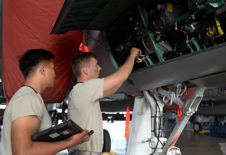 Airmen Edzel Gaytano and Cody Jernberg, 364th Training Squadron electrical and environmental systems apprentice course students, change out a transformer rectifier on an F-15 Eagle at Sheppard Air Force Base, Texas. The rectifier converts 115 volts of alternate current down to 28 volts of direct current. This device is critical in operating relays or transferring power form one source to another. (U.S. Air Force photo by Senior Airman Robert L. McIlrath)