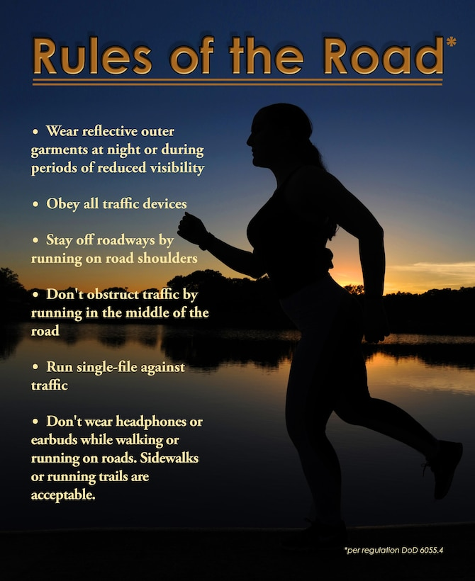 An Airman takes an evening run June 7, 2017, at Little Rock Air Force Base, Ark. Hazards on the road add to the danger of running near vehicles, such as uneven ground and road edges; staying alert is fundamental to preventing possible incidents. (U.S. Air Force graphic by Airman 1st Class Grace Nichols)