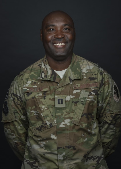 Capt. Claude Betene A Dooko is the public health flight commander with the 1st Special Operations Aerospace Medical Squadron, at Hurlburt Field, Fla. Betene's family heritage of military service motivated him from a young age to aspire to committing his life to service. Despite obstacles, his persistence made his dream a reality. (U.S. Air Force photo by Airman 1st Class Joseph Pick)
