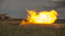 ADAZI, Latvia – Marines with Alpha Company, 4th Tank Battalion, 4th Marine Division, Marine Forces Reserve, fire from a M1 Abrams tank during Exercise Saber Strike 17 in the Adazi Training Area, Latvia, June 4, 2017. Exercise Saber Strike 17 is an annual combined-joint exercise conducted at various locations throughout the Baltic region and Poland. The combined training exercise keeps Reserve Marines ready to respond in times of crisis by providing them with unique training opportunities outside of the continental United States. (U.S. Marine Corps photo by Cpl. Devan Alonzo Barnett/Released)