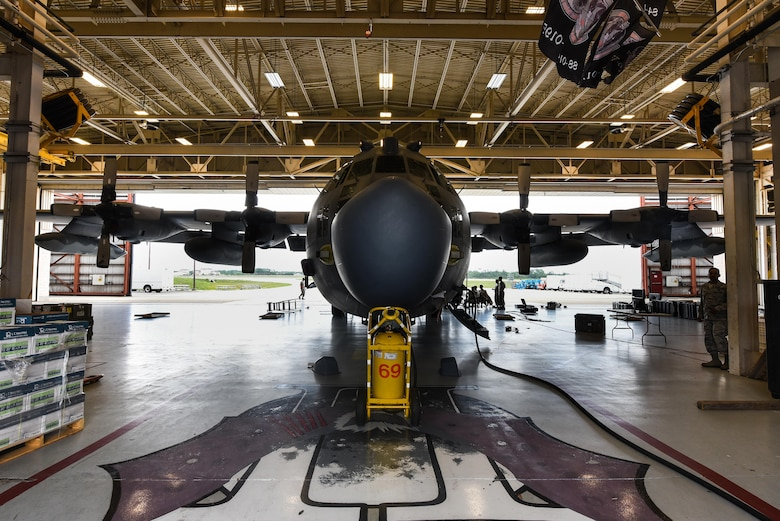 Airmen with the 15th Aircraft Maintenance Unit prepare an MC-130H Combat Talon II for routine maintenance at Hurlburt Field, Fla., June 7, 2017. The Combat Talon II provides infiltration, exfiltration and resupply of special operations forces and equipment in hostile or denied territory. Secondary missions include psychological operations and helicopter and vertical lift air refueling. (U.S. Air Force photo by Staff Sgt. Jeff Parkinson)