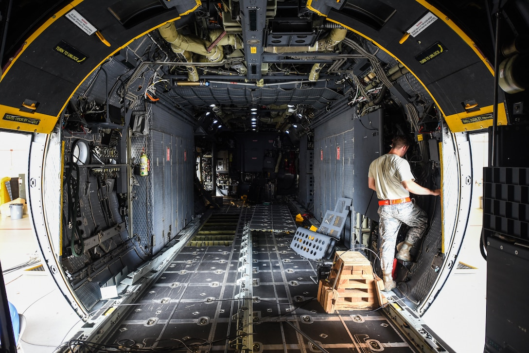 Airman 1st Class Anthony Hause, an electronic warfare journeyman with the 15th Aircraft Maintenance Unit, reassembles a waveguide system on an MC-130H Combat Talon II at Hurlburt Field, Fla., June 7, 2017. Electronic warfare specialists perform the USM670A test on the MC-130H Combat Talon II which ensures the radar jamming system produces the proper signals to prevent aircraft detection while in flight (U.S. Air Force photo by Staff Sgt. Jeff Parkinson)