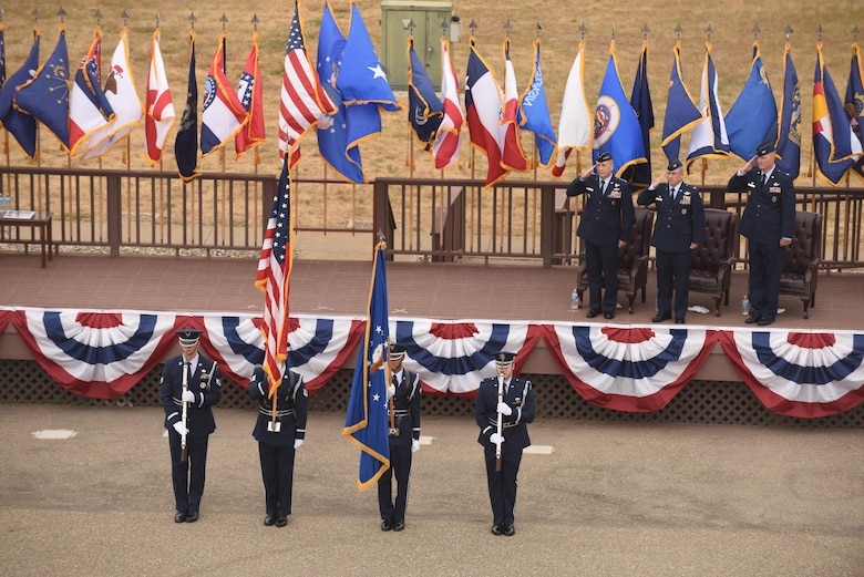 The Vandenberg Honor Guard presents the colors during the 30th Space Wing change of command, June 9, 2017, Vandenberg Air Force Base, Calif. (U.S. Air Force photo by Michael Peterson/Released)