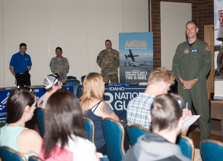 Col. Jefferson O'Donnell, 366th Fighter Wing commander, speaks to participants during the Innactive Ready Reserve Muster, June 2, 2017, at Mountain Home Air Force Base, Idaho. Various stations were put in place for participants to meet with representatives such as medical, recruiters and Veterans Affiars. (U.S Air Force photo by Senior Airman Malissa Lott/Released)