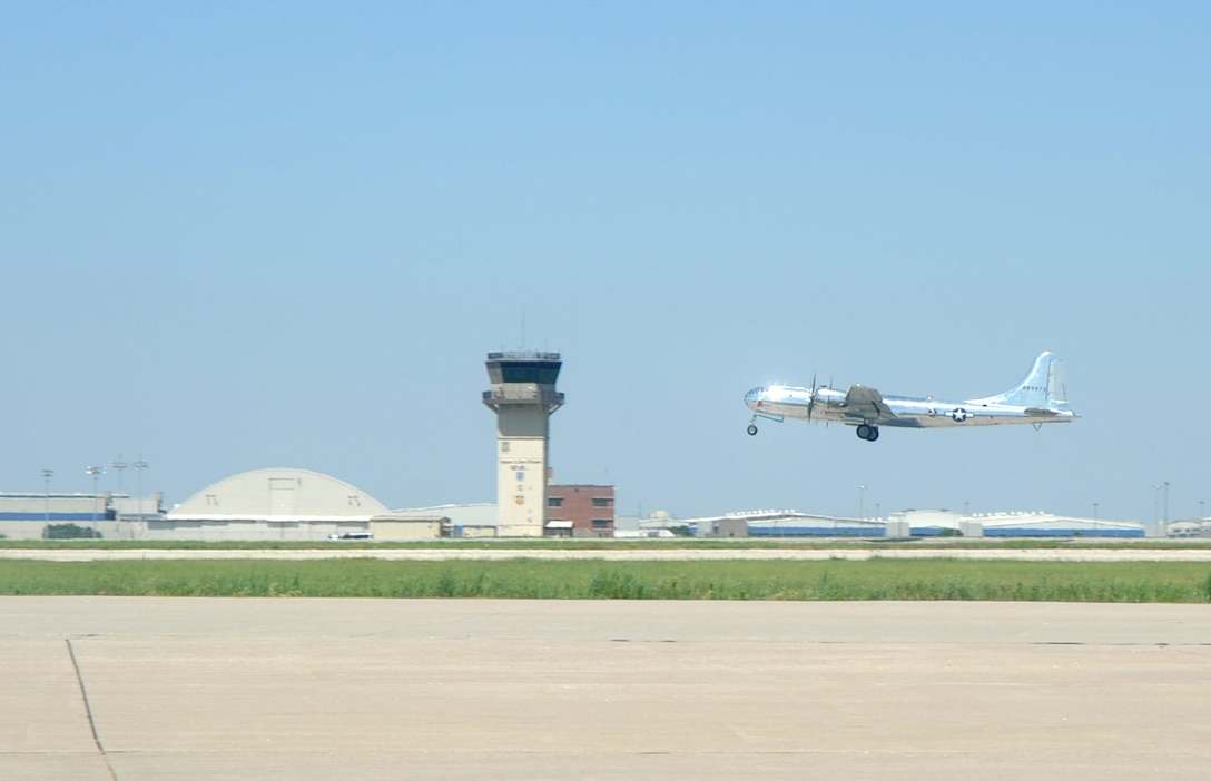 Doc, a restored B-29 Superfortress, takes-off June 9, 2017, from McConnell Air Force Base, Kan. Brig. Gen. Paul Tibbets IV, 509th Bomb Wing commander, Whiteman Air Force Base, Mo., co-piloted Doc, during this flight. Tibbets piloted the aircraft to Whiteman AFB for an airshow. (U.S. Air Force photo/Staff Sgt. Rachel Waller)